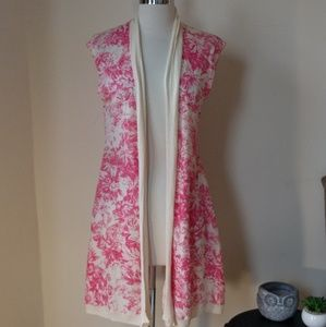 Guinevere floral toile sleeveless cardigan sweater